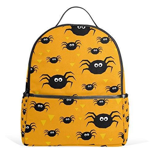 My Little Nest Happy Halloween Black Spiders School Bag Lightweight Travel ShoulderBackpack for Students Teenage -