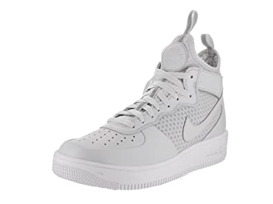 NIKE Mens Air Force 1 Ultraforce Mid Shoes Track Pure Platinum/White  864014-002