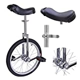 18-inch Wheel Rim Unicycle Chrome w/ Comfy Saddle Seat Steel Fork Cranks Frame Rubber Tire for Adult Teen Cycling Exercise Bike Ride On Off Road Street Mountain Trail