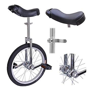 Rueda de 45,7 cm de cromo con cómodo asiento de sillín de acero para