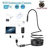 WiFi Endoscope Wireless Snake Camera Waterproof Inspection Camera Borescope 2.0 Megapixels HD 720P 6 Adjustable LED Light ( Size : 15M )