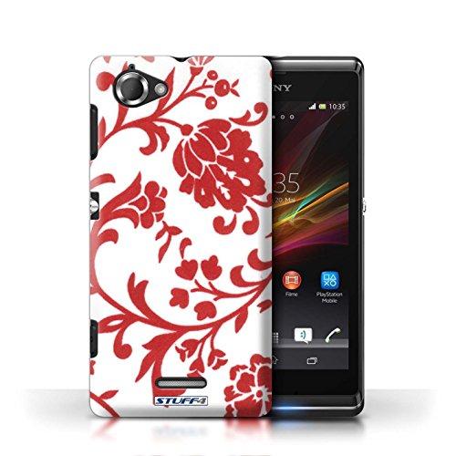 Etui / Coque pour Sony Xperia L/C2105 / Fleurs Rouge conception / Collection de Motif floral