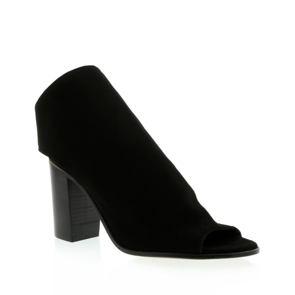 Frankie Stern Black Suede High Vamp Open Heel Boot