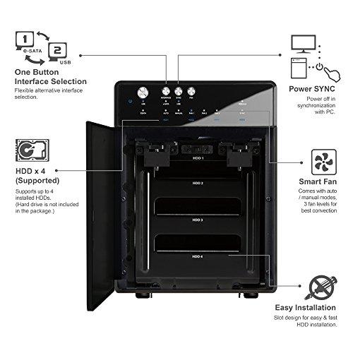"Mediasonic HF7-SU3S3 4 Bay 3.5"" SATA Hard Drive Enclosure – USB 3.0 & eSATA Support 10TB – Certified Refurbished (Black)"