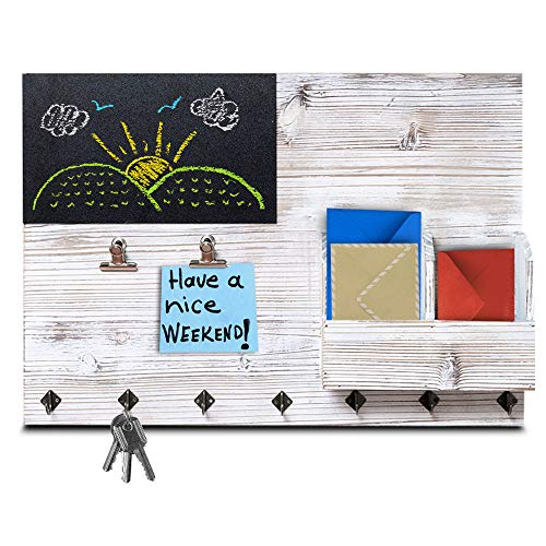 The Ultimate Rustic Wall Organizer! 4-in-1 Key Holder for Wall, Bulletin Board, Memo Chalk Board and Mail Organizer - Kitchen and Entryway Organizer with Keyholder Hooks, Clips and Letter Sorter!