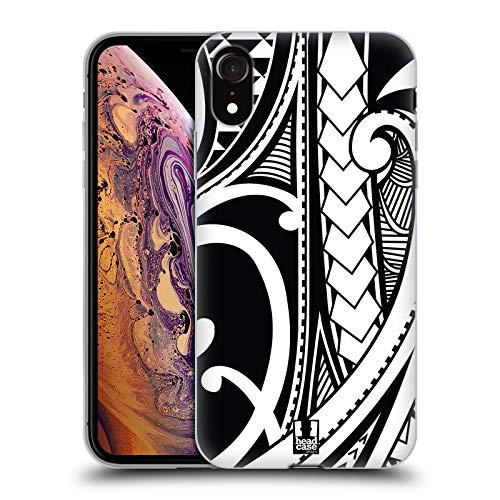 Head Case Designs Ornate Swirl Samoan Tattoo Soft Gel Case Compatible for iPhone XR (Best Samoan Tattoo Designs)