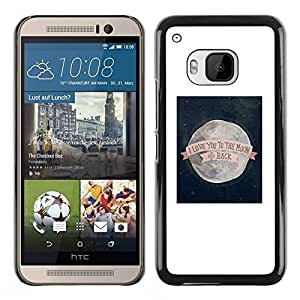 Paccase / SLIM PC / Aliminium Casa Carcasa Funda Case Cover - I Love You To The Moon Valentines - HTC One M9