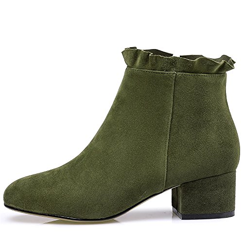 Nine Green Up Heel Ankle Booties Handmade Round Chunky Trendy Women's Dress Leather Suede Seven Army Toe Zip Cute T0zqrBTw