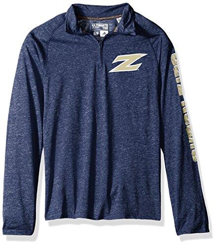 adidas NCAA Akron Zips Adult Men White Noise Casual Ultimate 1/4 Zip Tee, Large, Collegiate Navy Heathered
