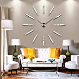 wall clocks wall clocks modern DIY English alphabet clock applique 3D mirror effect, frameless quartz wall clock Decal large size, contemporary family life art wall clock wall clock (L012silver)