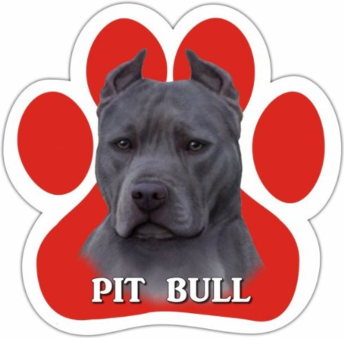 Pit Bull, Blue Car Magnet With Unique Paw Shaped Design Measures 5.2 by 5.2 Inches Covered In UV Gloss For Weather Protection