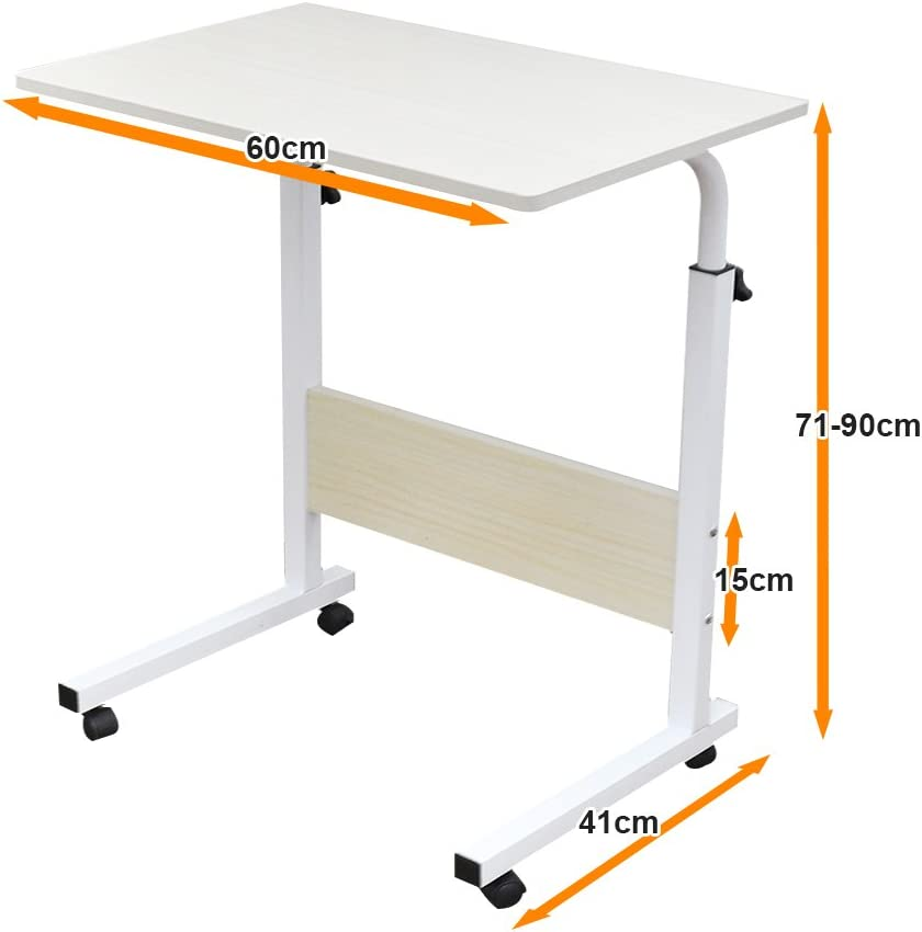SogesHome 60 x 40 cm Mobile Lap Table With Card slot Computer desk Stand desk Height adjustable table Side table for Bed Sofa Hospital Nursing Reading Eating 05#3-60MP-SH White Maple