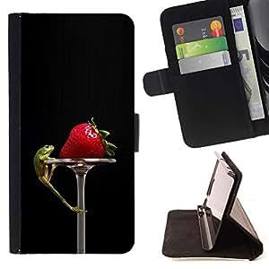 For Huawei Ascend P8 (Not for P8 Lite) Case , Divertido Tasty Fresa y Lizzard- la tarjeta de Crédito Slots PU Funda de cuero Monedero caso cubierta de piel