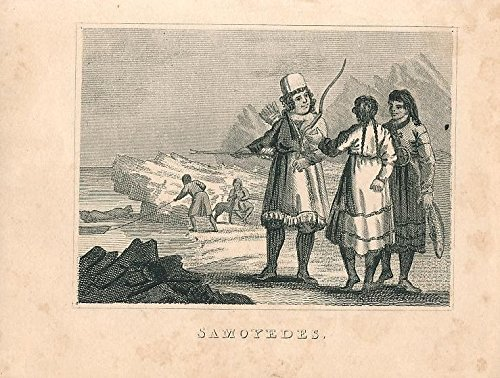 [Samoyed natives traditional costume 1841 charming Miniature engraving print] (Postage Stamp Costume)