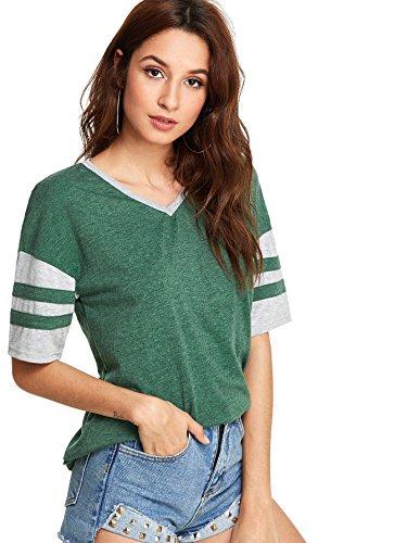 SweatyRocks Women Summer Varsity Football Tee Striped Color Block T-Shirt Tops