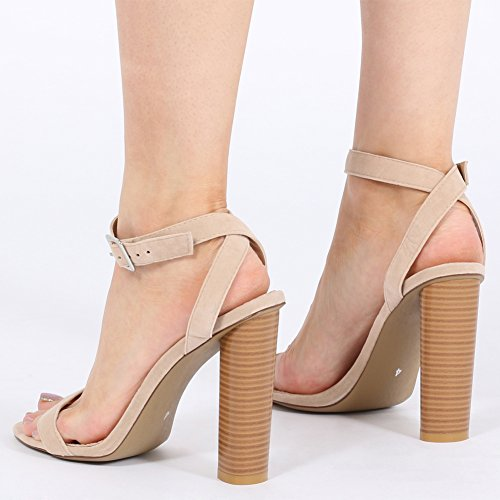 Womens Buckled Strap Barely There Wooden Effect Heels Nude Faux Suede UK 3-8 lYJXgo
