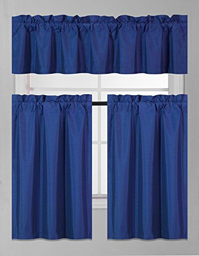 Elegant Home Collection 3 Piece Solid Color Faux Silk Blackout Kitchen Window Curtain Set with Tiers and Valance Solid Color Lined Thermal Blackout Drape Window Treatment Set #K3 (Royal Blue)