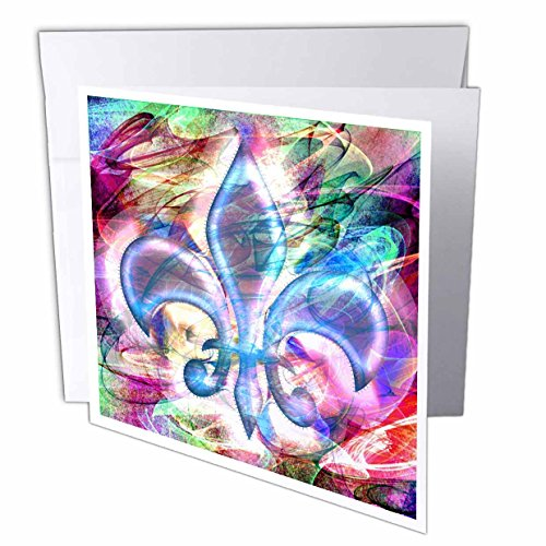 3dRose Dooni Designs Abstract and Surreal Art - Fleur De Lis Abstract Art - 12 Greeting Cards with envelopes (gc_104701_2)