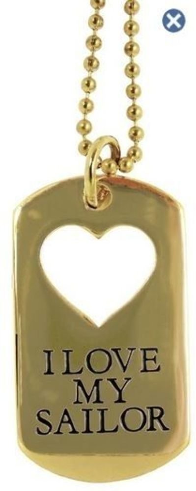 Dog Tag Key Or Chain Necklace I Love My Sailor With Cutout Heart #4389