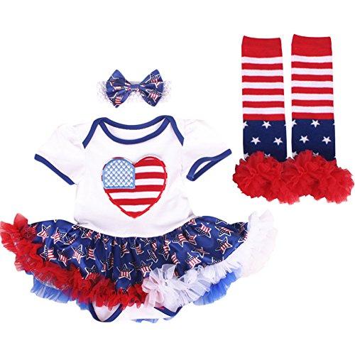 OBEEII July Fourth American Patriotic Girl Romper Tutu Dress Headband Star Stripe...