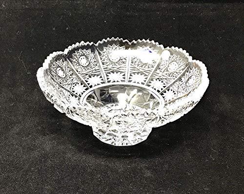 Czech Bohemian Crystal Glass Bowl 6''-Dia Hand Cut Decorative Wedding Gift Vintage Lace Design Elegant Centerpiece Dish Salad Fruits Desserts Candies Classic Crystal Glass