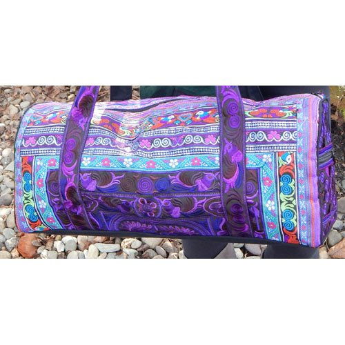 (Medium Hand-Made Embroidered Duffle Tote Bag for Knitting or Travel by Plymouth Yarn Company - PURPLE)