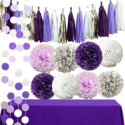 InBy 26pcs Purple Tissue Paper Pom Poms Tassel Garland Party Decoration Kit for Baby Shower Bridal Weddinig Bachelorette Birthday Graduation Supplies - Purple, Silver, White ()