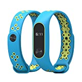 Wristbands for Xiaomi Mi Band 2, Polwer Durable TPU Anti-off Replacement Bands (Sky Blue+Green)