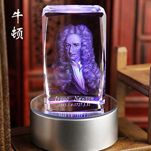 ZAMTAC TOP Scholars Gift Office Art -3D Crystal Isaac Newton Sculpture The Father of Modern Physics Statue -PNG (Newton Crystal)