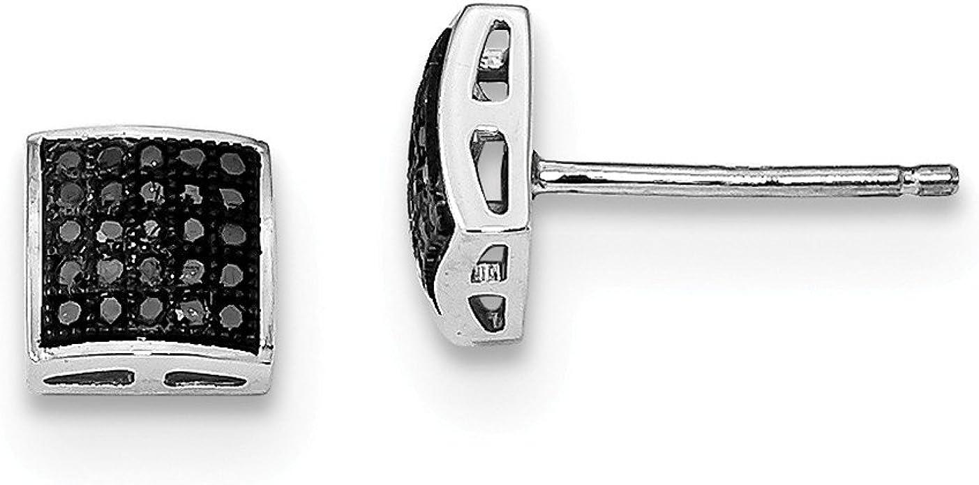 .1cttw Blue Diamond Post Earrings Mia Diamonds 925 Sterling Silver 6mm x 6mm