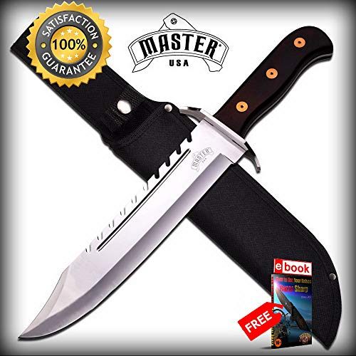 (Dark Wood Handle Silver Sawback Blade Classic Tactical Bowie SHARP KNIFE with Sheath Combat Tactical Knife + eBOOK by Moon Knives)