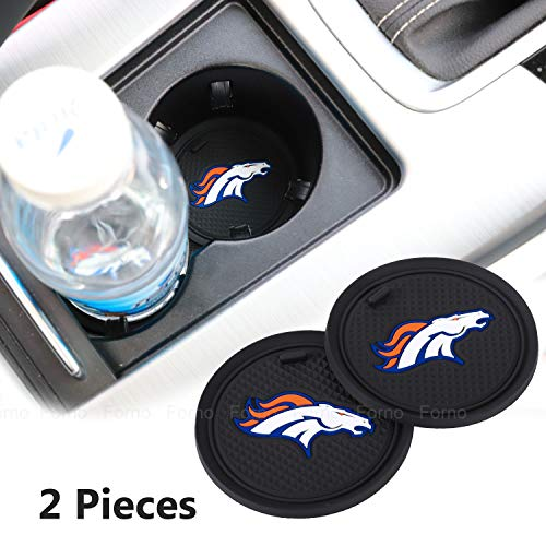 2 Pack 2.75 inch for Denver Broncos Car Interior Accessories Anti Slip Cup Mat for All Vehicles (Denver Broncos) (Denver Broncos Auto Decal)