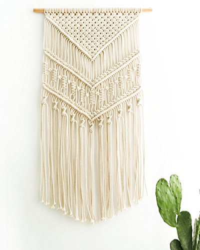 Mkono Macrame Wall Hanging Art Woven Boho Home Décor, Geometric Beautiful Wall Art for Apartment, Dorm Room Decoration… - Craftsmanship : A beautiful combination of Elegance and Bohemian Style in a Tapestry. This is a handcrafted Macrame Wall Hanging with beautiful delicate detail and a gorgeous fringe. It is great for a bedroom, living area, baby nursery, workspace or anywhere where you'd like to bring some texture and interest to your walls Premium Standard : Our macrame wall hanging is made of 100% pure cotton cord, without artificial ingredients or chemicals. Sturdy, durable and premium quality. Beautiful wall art creates a sense of harmony and comfort for your room Design :Its symmetrical design will fit in any interior. This woolen hanging makes a perfect statement piece for hanging over the head of a bed or baby crib, over a couch, fireplace mantel or desk, or near a window for adding a cozy touch to your living or work space. Great decoration for party, wedding, or as photo props - living-room-decor, living-room, home-decor - 51Oawtz853L -