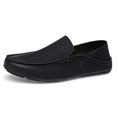 JAMONWU Men's Premium Genuine Leather Casual Loafers Slip on Boat Flats Driving Shoes Fashion Slipper | Loafers & Slip-Ons