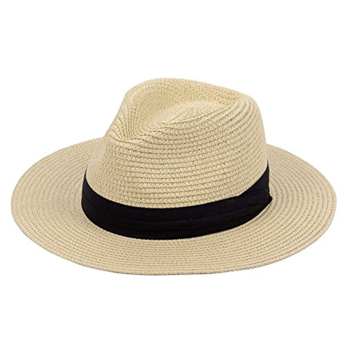 (Panama Straw Hat,Womens Sun Hats Summer Wide Brim Floppy Fedora Beach Cap UPF50+ (A02-Straw Yellow))