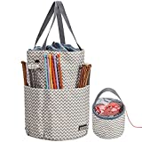 HOMEST XL Yarn Storage Tote, Tangle Free with 6 Oversized Grommets, Knitting and Crochet Organizer, Large Craft Supplies Bag with Drawstring Closure, Ripple (Patent Design): more info