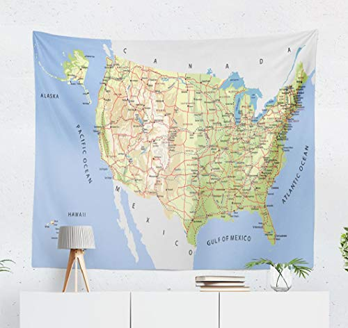 United States Tapestry,Deronge Map United States with Lakes Alaska and Hawaii Tapestry Wall Hanging Decor 50x60 Inch Wall Art Tapestry for Men Bedroom Decor Decorative Tapestry Dorm,Map United States (Time Difference Between Los Angeles And Seattle)