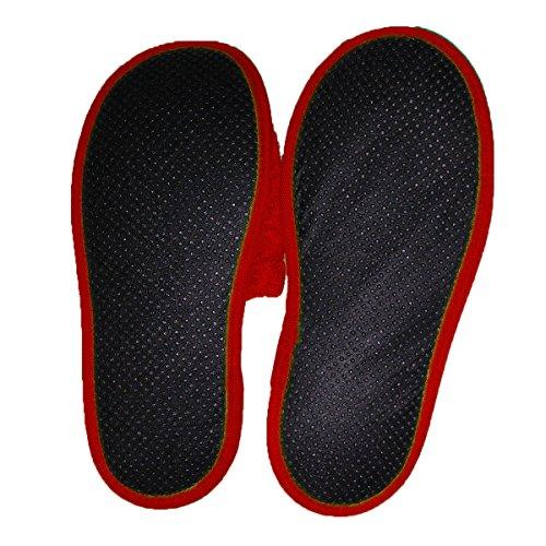 Eponge en Confort Arus Femmes de Mules Rouge de Chaussons Resistance Coton 100 amp; Pantoufles Bain Eponge xw0qFxPC