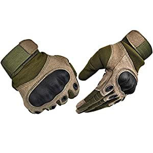 Tactical Gloves , ADiPROD (1 Pair) Hard Knuckle Full Finger for Outdoor Shooting Army Airsoft Gear (Army Green, Small)