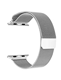 Apple Watch Band Series 1 Series 2, LNKOO Milanese Loop Stainless Steel Bracelet Smart Watch Replacement Strap for iWatch All Models with Unique Magnet Lock, No Buckle Needed (38MM/Silver)