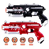 Infrared Laser Tag Gun, Aomeiqi 2-Pack Infrared Battle Shooting Games Lazer Tag Blasters Indoor & Outdoor Group Activity Two Player Gaming Set Laser Tag Blasters No Vest Required for Kids Adults Everyone