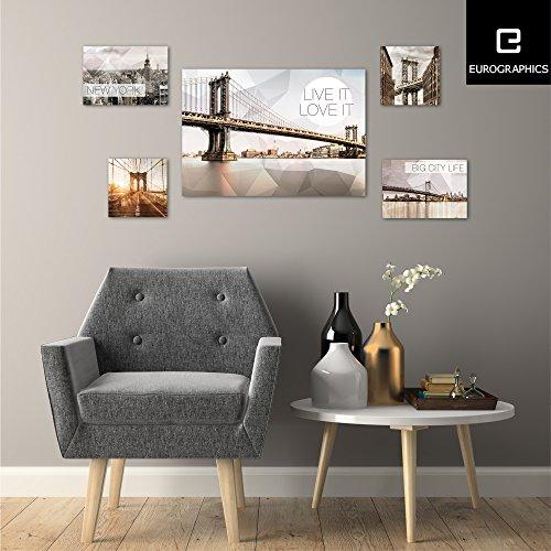 Eurographics - Set di 5 stampe su tela, motivo: New York Polygonal, colore: Beige