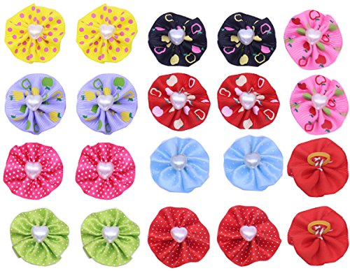 Yagopet 60pcs/30pairs Dog Hair Bows With Rubber Bands Round Bows with Love Pearls Center Dog Topknot Dog Bows Pet Dog Grooming Bows Pet Supplies Dog Hair - Center Picture Band
