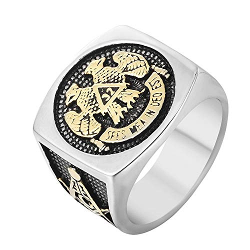 Sping Jewelry Masonic Rings Freemason Eagle Symbol Ring Stainless Steel 32nd Degree Scottish Rite Mason Symbol Logo