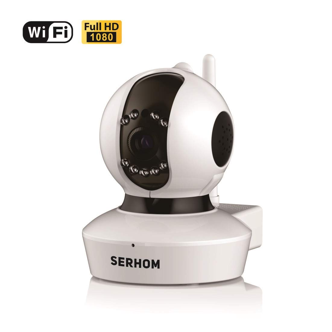 SERHOM IP Camera WiFi 1080P Wireless Surveillance Camera Network Webcam Two Way Audio Microphone Inside Onekey WiFi Setting Pan Tilt Movement Night Vision Baby Pet Video Monitor