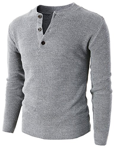 H2H Mens Various Color Casual Fashion Knit Pullover Henley Sweater GRAY US M/Asia XL (KMTTL0275)