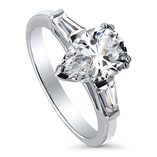 BERRICLE Rhodium Plated Sterling Silver Pear Cut Cubic Zirconia CZ 3-Stone Anniversary Promise Engagement Ring 2.3 CTW Size -
