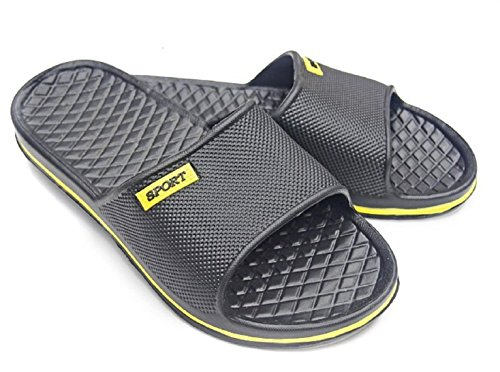 DINY Home & Style Men's Sport Slip-On Slide Sandals Beach Shoes Flip Flops Slippers Comfort and Style (8, Black & Yellow) by DINY Home & Style
