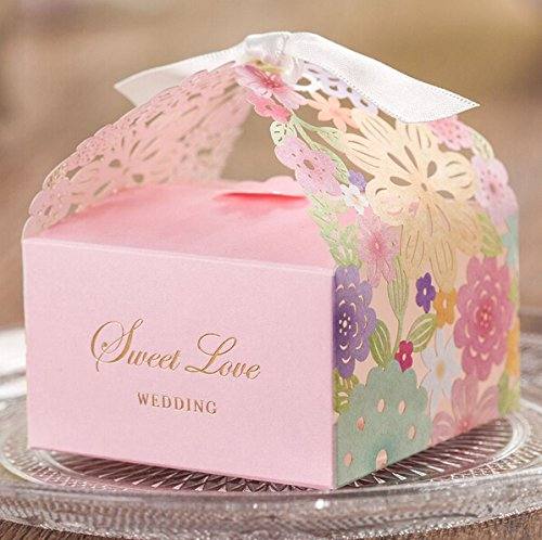 Krismile® 50 Colorful Floral Laser Cut Candy Box Wedding Favors Designer Box CB5031 Matching with Invitation Card CW5031