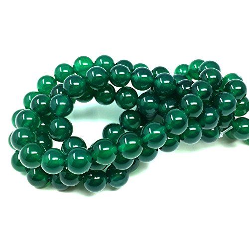 Chengmu 8mm Green Agate Beads Natural Gem Round Loose Beads for Jewelry Making for Bracelet (Green Emerald Bead Necklace)